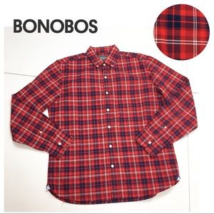 Bonobos Red Plaid Standard Fit Button down Shirt